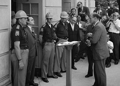 Stand in the Schoolhouse Door: Governor George Wallace attempts to block the enrollment of black students at the University of Alabama.