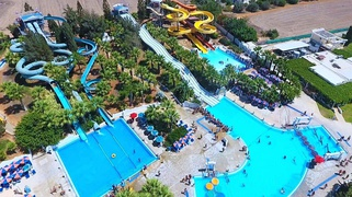 Aerial view of a section of WaterWorld Themed Waterpark in Ayia Napa, Cyprus