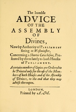 Facsimile of the title page of the first printing of the Shorter Catechism on 25 November 1647 without Scripture citations printed for distribution in Parliament