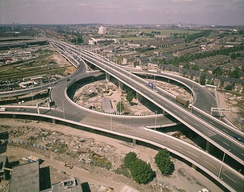 The elevated roundabout connecting the Westway with the West Cross Route, 1970.