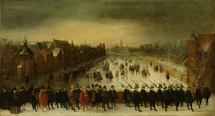Maurice and his followers on the Vijverberg, The Hague. Adam van Breen, 1618.
