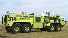 This 8x8 fire truck is unusual in that it steers by frame articulation