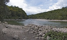 The source of Drina, looking downstream: the Tara entering the frame from the right, the Piva from the left, creating the Drina, in the middle of the frame going up.