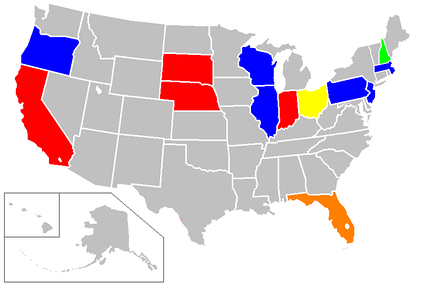 Statewide contest by winner: Red = Kennedy, Orange = Smathers, Yellow = Young, Green = Johnson, Blue = McCarthy, Grey = No primary