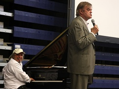 Keillor with Richard Dworsky on the 40th anniversary of A Prairie Home Companion