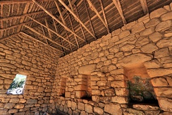 Inside view of an Inca roof in one of the few reconstructed buildings of Machu Picchu