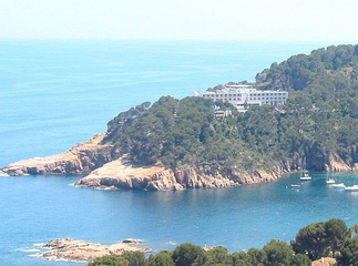 The modern Aiguablava Parador, overlooking Aigua Blava Bay in the Costa Brava.