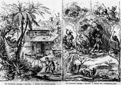 European governments, worried that their best young people would leave for America, distributed posters like this to frighten them (this 1869 Swedish anti-emigration poster contrasts Per Svensson's dream of the American idyll (left) and the reality of his life in the wilderness (right), where he is menaced by a mountain lion, a big snake and wild Indians who are scalping and disembowelling someone).[24]