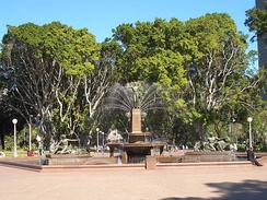 Archibald Fountain in Hyde Park, which sits in front of the park's famed avenue of figs.