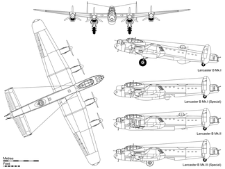 Lancaster B Mk.I drawing with extra side views for the B Mk.I (Special) with Grand Slam bomb, Hercules-powered B Mk.II with bulged bomb bay doors and FN.64 ventral turret and the B Mk.III (Special) with the Upkeep store