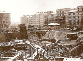 Construction site of the new building, 1863