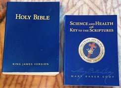 The Bible (left) and Science and Health with Key to the Scriptures (right) serve as the pastor of the Christian Science church.