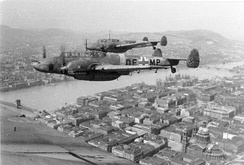 Bf 110s in flight above Budapest. 1944