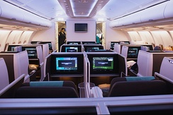 The Business Class cabin of an Oman Air Airbus A330-300
