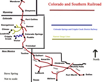 Map of the Colorado & Southern Railroad lines, including the Fort Worth and Denver City lines in Texas