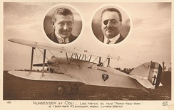 "Postcard of ""The White Bird"" with Nungesser and Coli"