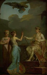 Allegorical depiction of Christian VII of Denmark uniting the royal and ducal parts of Holstein, painted by Nicolai Abildgaard
