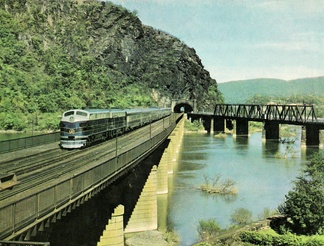 B&O's Columbian crossing the Potomac River at Harpers Ferry, West Virginia, 1949