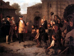 King Frederick William I of Prussia welcoming the expelled Salzburg Protestants