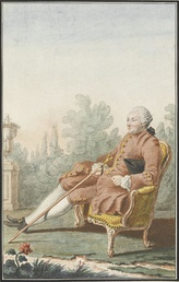 Paul-Henri Thiry, Baron d'Holbach by Louis Carmontelle. Pink was worn by both sexes.