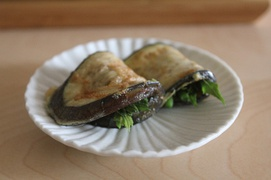Korean dureup-gaji-jeon (pan-fried eggplants and angelica tree shoots)