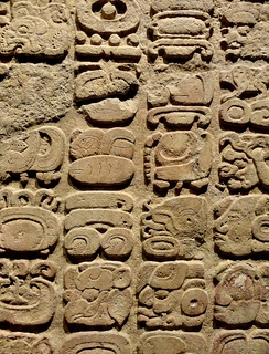 Maya glyphs at National Museum of Anthropology (Mexico)