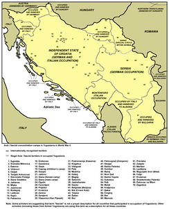 Concentration camps in the Independent State of Croatia on a map of all camps in Yugoslavia in World War II.