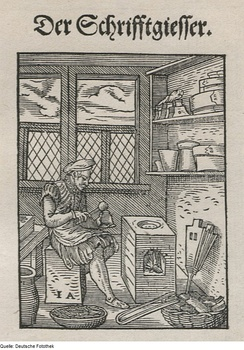 1568 illustration of a German type founder pouring molten type metal into a hand mold.