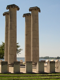 The Four Freedoms Monument along the Ohio River.