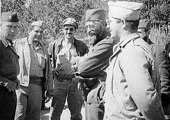 Chetniks leader General Mihailovic with members of the U.S. military mission, Operation Halyard, 1944