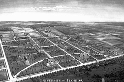 The University of Florida campus in 1916, looking southwest.