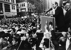 Humphrey delivers a speech during a campaign rally.