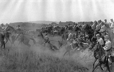 German Army hussars on the attack during manoeuvres, 1912
