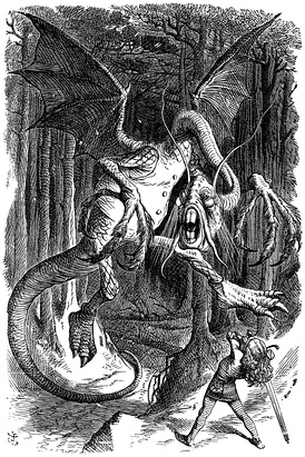 "The Jabberwock, as illustrated by John Tenniel for Lewis Carroll's Through the Looking Glass, including the poem ""Jabberwocky""."