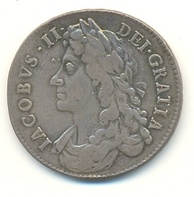 Half crown coin of James II, 1686