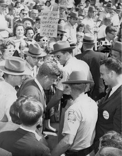 Kennedy campaigning in LaGrange, Georgia, October 1960