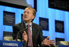John T. Chambers led Cisco as its CEO between 1995 and 2015. (Pictured at 2010 World Economic Forum, in Davos, Switzerland).