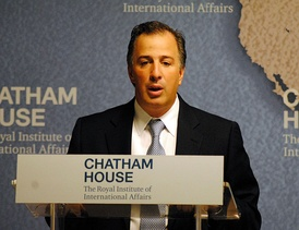 José Antonio Meade as Secretary of Foreign Affairs before the Chatham House in 2014.