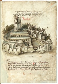 The basilica and grounds as they were depicted in a work published in 1487