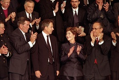 Giuliani at a joint session of Congress on September 20, 2001, in which President Bush praised his efforts as Mayor and named Tom Ridge to a new cabinet-level position to oversee homeland defense initiatives