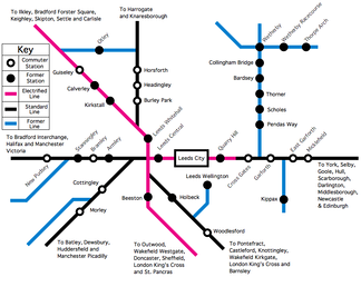 The rail network in Leeds