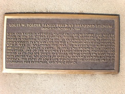 Plaque commemorating the dedication of Louis W. Foster Family Field in 1995