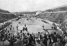 Spyridon Louis entering the Panathenaic Stadium at the end of the marathon; 1896 Summer Olympics.
