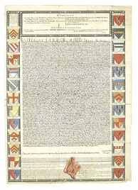 A 1733 engraving of the Charter of 1215 by John Pine