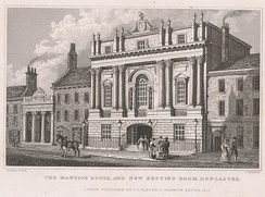 The Mansion House and New Betting Room, Doncaster, engraved by John Rogers after a drawing by Nathaniel Whittock, published by Isaac Taylor Hinton,[48] London, 1829. The architect was James Paine, 1746–1748.