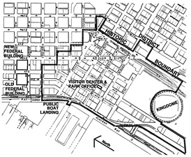 This 1996 map of the Pioneer Square-Skid Road Historic District shows the location of the Kingdome (at the lower right in the map).