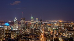 A view of Downtown Montreal from Mont Royal. Many neighbourhoods, including downtown, are located in the borough of Ville-Marie.