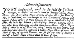 Advertisement for Slaves, Halifax Gazette, 30 May 1752 p. 2[14]