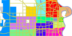 Downtown - lime, Midtown - blue-gray, North - red, South - pink, West - lavender