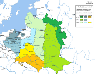 The three Partitions of the Polish–Lithuanian Commonwealth (1772, 1793, and 1795)